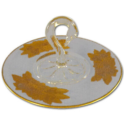 Swan Handle Gold-Enhanced Serving Dish