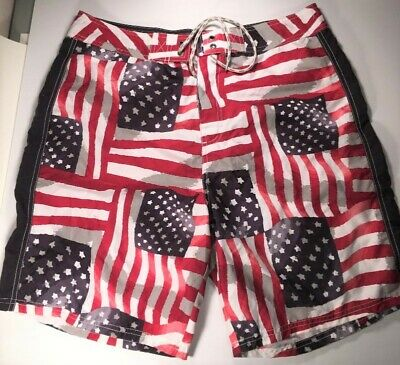 21d7a8c085 Men's Old Navy Red White Blue American Flag Swim Trunks Board Shorts Size L
