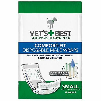 Vet's Best Comfort Fit Disposable Male Dog Diapers | Absorbent Male Wraps