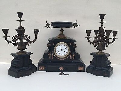 Antique Mantle Clock French Marble Garniture Clock Set Candelabras Free Delivery
