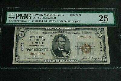 1929 $5 Lowell MA, Fr 1800-1 Type 1  # 6077 NBN Union Old National Bank, PMG 25