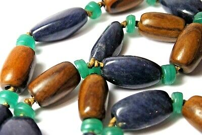 Vintage Antique Chinese Lapis Lazuli Jade Glass, Huanghuali? Wood  Bead Necklace