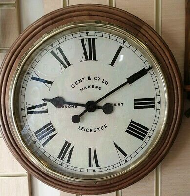 Vintage Gents of Leicester Wooden Circular Office Wall Slave Clock