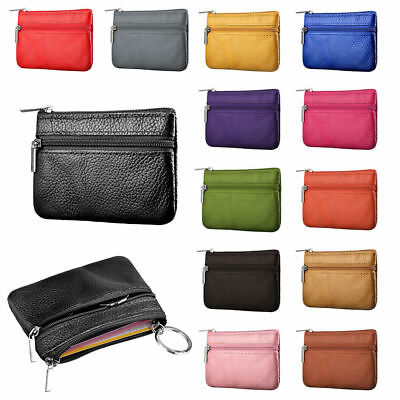 Women Men Leather Small Wallet Mini Coin Purse Card Holder Zip Keyring Pouch Bag