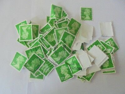 100 x 20p GB Stamps 'Green'  - Used Franked - Off Paper