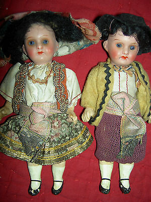 Adorable PAIR, antique bisque 1920s German jointed dolls, original costumes XLNT