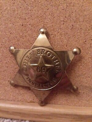 """Chief Brothel Inspector 69 Solid Brass Badge 3.5""""H"""