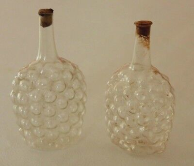 Vintage Pair of Clear Glass Perfume Bubble Snuff Bottles with Stoppers