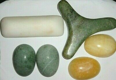 White, Yellow and Green Jade Hot or Cold Massage Stone Therapy 6 Kit Set
