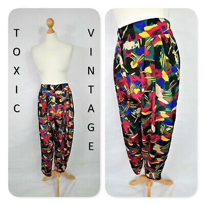 VINTAGE 1970s 1980s MULTICOLOURED ABSTRACT HIGH WAIST TROUSERS 10-12 RETRO FUNKY