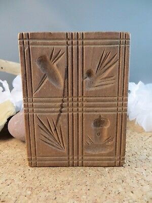 Primitive Antique Hand Carved Wood Butter Stamp Cookie Mold Pine Tree Acorn #5