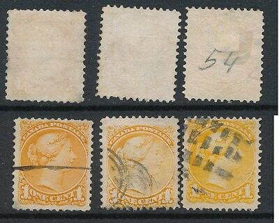 CANADA, 1870 1c 3 shades listed in SG 1st Ottaw/Montreal, SG72,73,75, cat £53