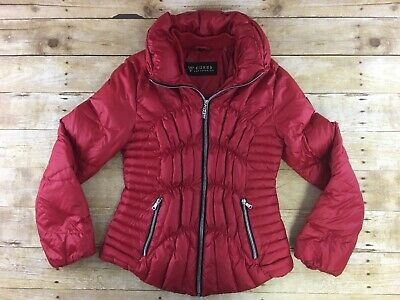 9793778d9 GUESS DOWN PUFFER Coat Jacket Womens Medium Red Quilted Full Zip Insulated