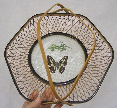 "Vintage Basket with Swallowtail Butterfly Under Glass in Center 1970s 12"" Dia"