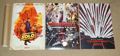 "SOLO STAR WARS 13""x19"" ORIGINAL POSTER & DEAD POOL 2 & THE GREAT WALL FOR FREE"
