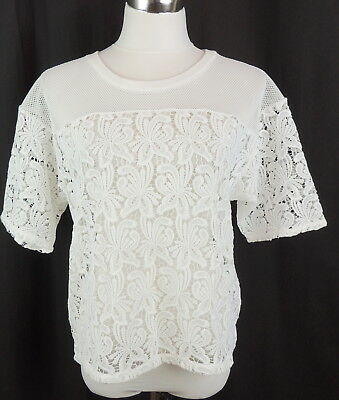 Ann Taylor Loft Womens M Romantic Fish Net Lace Top See Through NEW $69.50
