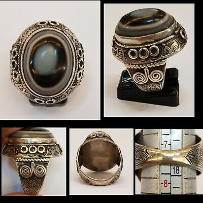 Beautiful Unique Old Silver Ring with Old Wonderful Eyes Banded Agate Stone  #C4
