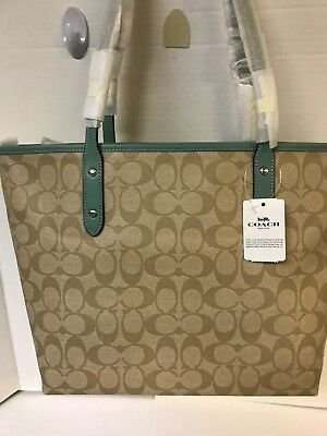 2835dace9 NWT - Coach F58292 Signature City Zip Tote Shoulder Bag KHAKI/AQUAMARINE  $295.00