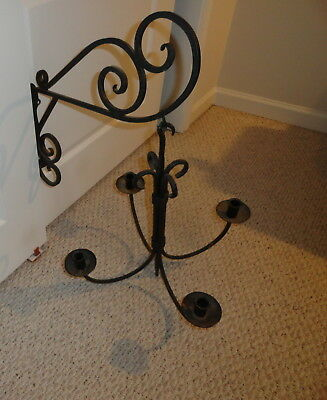 Antique Vtg Primitive Hand Made Metal Wrought   Iron  Hanging Candle Holder