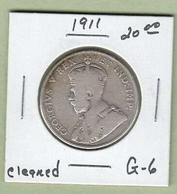 1911 Canadian 50 Cents Silver Coin - G-6 (Cleaned)