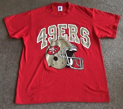 983c3d011 Men's Vintage NFL San Francisco 49ers Red Logo 7 T-Shirt Size Large (42