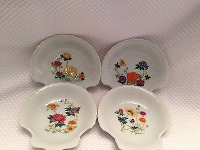 Vintage 4 Decorative Floral Half Shell Shaped Dishes w Handpainted Flowers