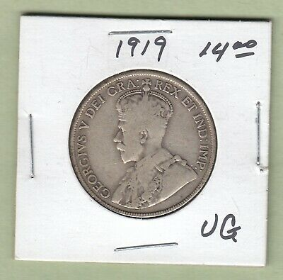 1919 Canadian 50 Cents Silver Coin - VG