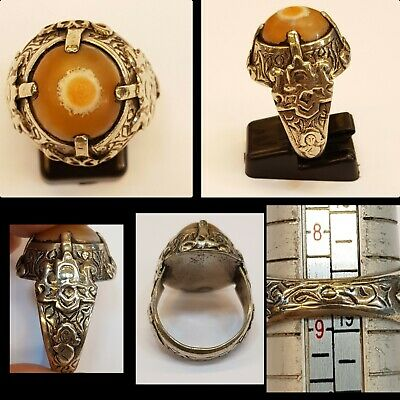 Evil Eyes Powerful Protection Unique Agate Stone With Silver Old Antique Ring  #