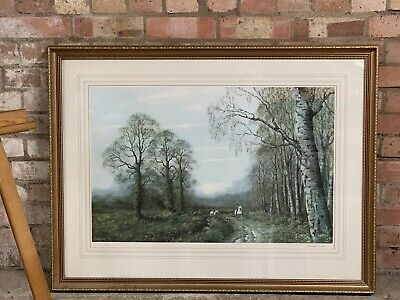 Very Large Gilt Framed Limited Edition Hunting And Hounds Print By Caesar Smith