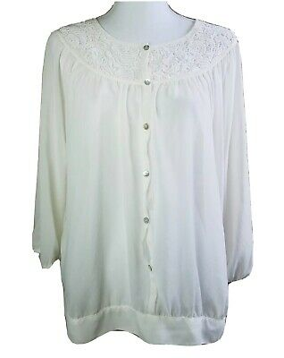Chicos White embroidered lace semi sheer peasant shirt top blouse size 3 boho