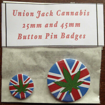 CANNABIS LEAF on UNION JACK Pair of Round Button Pin Badges 25mm & 45mm Drugs