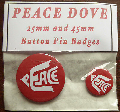 PEACE DOVE Red Pair of Round Button Pin Badges 25mm & 45mm Anti War