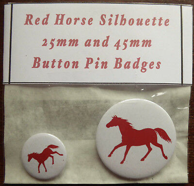 RED HORSE SILHOUETTE Pair of Round Button Pin Badges 25mm & 45mm