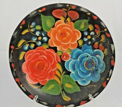 Vntg Mexican Wood Platter Folk Art Hand Painted/Tooled Collectible Home Decor
