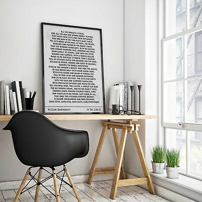 William Shakespeare quote art print wall art home  gift  motivation inspiration