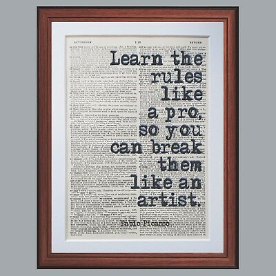 Pablo Picasso Quote Dictionary page art print gift literary quotes books