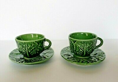 Bordallo Pinheiro Majolica Cabbage green Demitasse Coffee 2 Set Cup & Saucers
