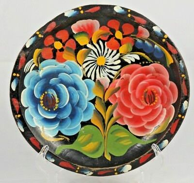"""Vntg Mexican Wood Platter Folk Art Hand Painted/Tooled Home Decor Collectible 9"""""""