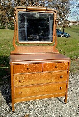 Tiger Oak Dresser with Swivel Beveled Mirror, Applied Carvings Antique