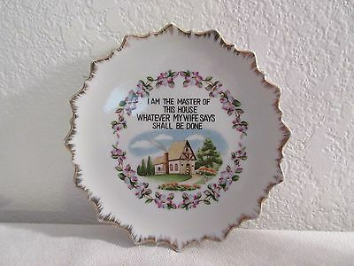 "Vintage Hand Painted ""I Am The Master"" Decorative Plate - 7 1/4"" in Diameter"