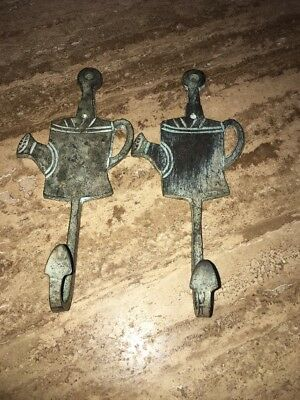 Two CAST IRON WATERING CANS  HOOK Rustic