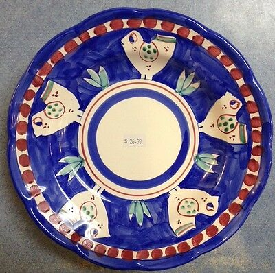 Vietri Pottery,Blue Chicken campagna 9in Plate!Painted by hand-Italy NEW!