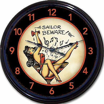 Tattoo Sailor Martini Pinup Wall Clock Navy Tat Parlor Parlour Old School 10""