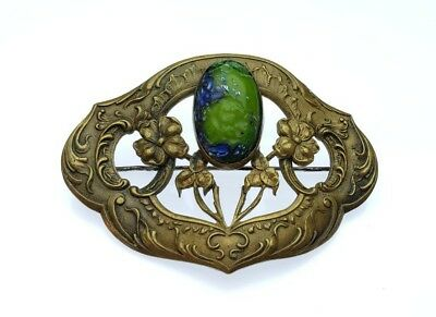 Spectacular Antique Victorian Large Ornate Cabochon Collar Brooch Pin
