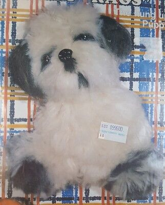 """RARE NEW Nifty Fuzzy Machrome Kit """"The hung up Puppy,"""" Dog, White & Gray, #1003"""