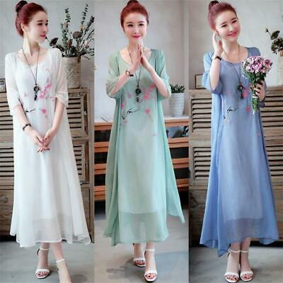 Vintage Ethnic Women Cotton Linen Embroidered Fake Two Piece Casual Long Dress