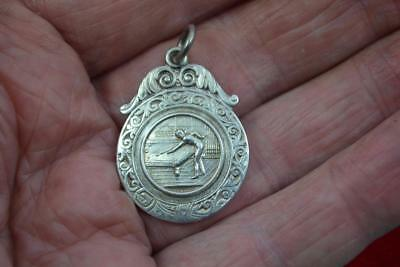 vintage sterling silver Watch fob Named to H Winder 1948 Holgate Snooker Club