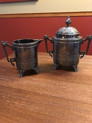 Meriden Britannia Co. 2 Piece Victorian Silverplate 1913 Waste Bowl & Creamer