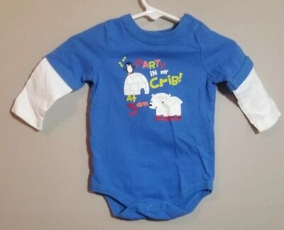 """Circo Baby Boy Blue Long Sleeve Bodysuit """"Party in My Crib 3am"""" Size 6 Months"""