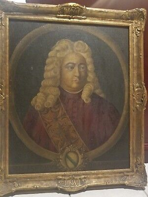 FINE ANTIQUE RARE 17th, 18th C Portrait Painting of a Nobleman in Armour, c 1680